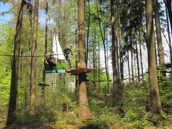 Climbing at the High Rope Park Kloten